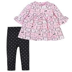 Gerber Baby Girls Dress and Legging Set, Kitty Heads, 6-9 Mo