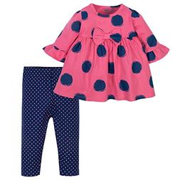Gerber Baby Girls Dress and Legging Set, Spots, 24 Months