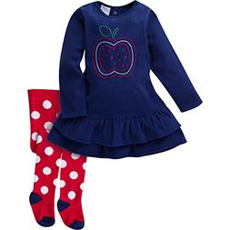 Gerber Baby Girls' Micro Fleece Dress with Tights, Apple, 0-