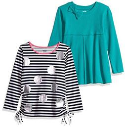 Gerber Graduates Baby Girls' 2 Pack Tops, Stripes/Teal, 12 M