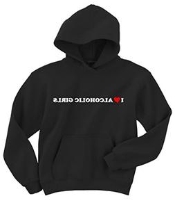 Gildan I Love Alcoholic Girls Hoodie Sweatshirt Black XXL-La