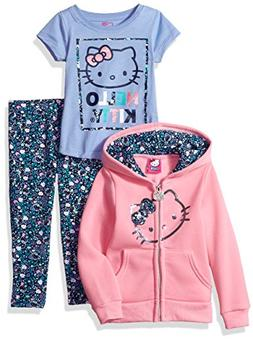 Hello Kitty Little Girls' 3 Piece Hooded Legging Set, Pink/B