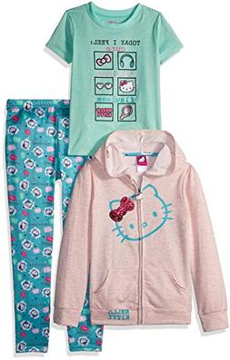 Hello Kitty Big Girls' 3 Piece Zip up Hoodie Legging Set Wit