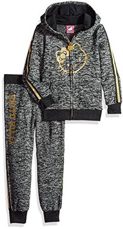 Hello Kitty Little Girls' 2 Piece Hooded Fleece Active Set,