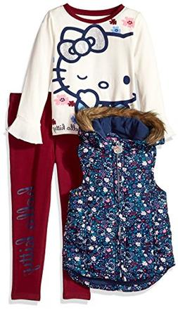 Hello Kitty Big Girls' 3 Piece Tee, Vest, and Legging Set, M
