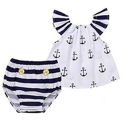 Infant Baby Girls Off Should Anchor Tops+Striped Briefs Outf