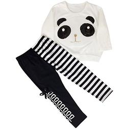 Jastore 2pcs Kids Little Girls Cartoon Clothing Set Panda To