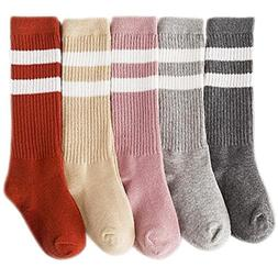 Jastore 5 Pairs Unisex Baby Girl Boy Stripe Stocking Knit Hi