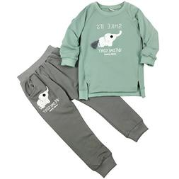 Jastore Baby Girl 2pcs Cute Elephant Clothing Sets Top and P