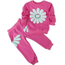Jastore Baby Girl 2pcs Sunflower Clothing Sets Top and Pants