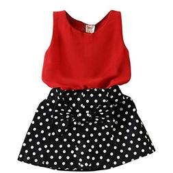 Jastore Baby Girls Clothing Sets Cute Red Vest + Dot Skirts