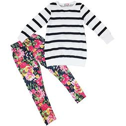 Jastore Kids Girls Clothing Sets Long Sleeve Stripe Shirt+Fl