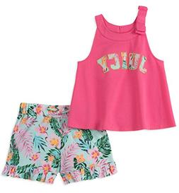 Juicy Couture Baby Girls 2 Pieces Shorts Set, Pink/Print, 18