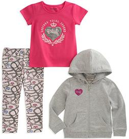 Juicy Couture Baby Girls 3 Pieces Jacket Set, Gray/Pink, 12M