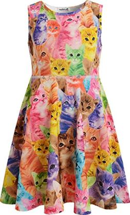 Jxstar cat Party Supplies Girls Dresses Size 6 Little Girl D