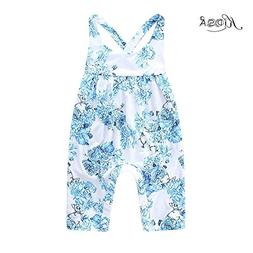 KIDSA 0-24M Baby Girl Summer Clothes One-piece Blue Floral T