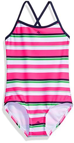Kanu Surf Little Girls' Bridget Stripe 1-Pc Swimsuit, Pink,