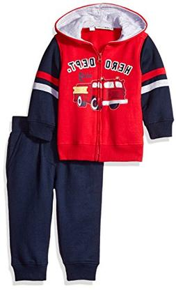 Kids Headquarters Baby 2 Pieces Hooded Fleece Pants Set, Red