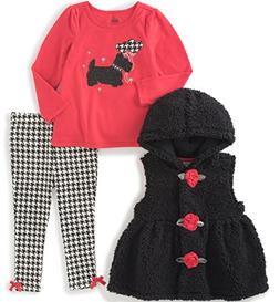 Kids Headquarters Baby 3 Pieces Sherpa Hooded Vest Pants Set