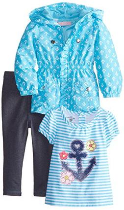 Kids Headquarters Baby Girls' Jacket with Tee and Jeans, Blu