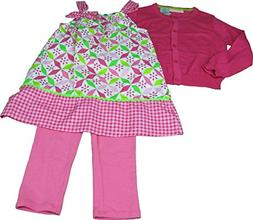 Kids Headquarters Girls 3-Piece Dress, Leggings, & Sweater S