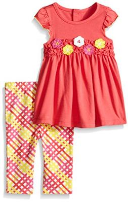 Kids Headquarters Girls' Solid Red Jersey Tunic and Printed