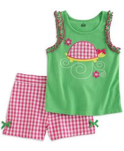 Kids Headquarters Infant Girls 2 PC Turtle Shirt & Gingham C