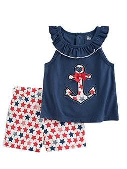 Kids Headquarters Infant Girls Anchor Shirt & Star Shorts Pa