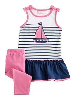 Kids Headquarters Infant Girls Baby Outfit Navy Blue Stripe