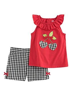Kids Headquarters Infant Girls Cherry Shirt & Black Check Sh