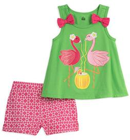 Kids Headquarters Little Girls' 2 Pieces Shorts Set, Green,