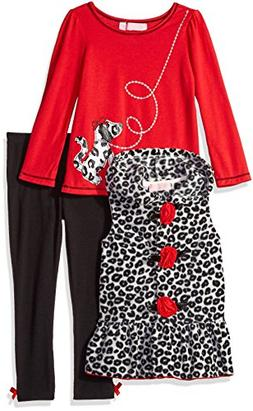 Kids Headquarters Little Girls' Animal Print Vest with Red T