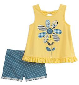 Kids Headquarters Girls' Little 2 Pieces Shorts Set, Yellow/