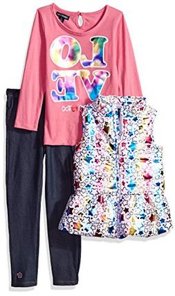 Limited Too Little Girls' Fashion Top, Vest Legging Set , Mu