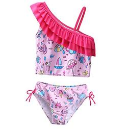 Little Girls 3 Pieces Cherry Blossoms Pattern Lovely Tankini