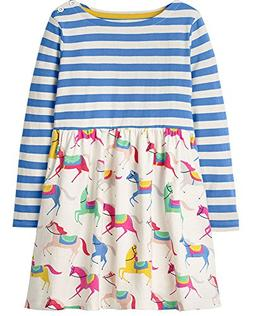 Little Girls Cute Cotton Long Sleeve Tunic Dresses Horses Pr