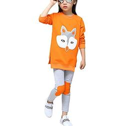 Little Girls Cute Long Sleeve Top & Pant Clothes Set Orange