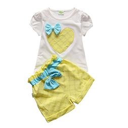Little Girls' Shorts Set Love Print T-shirt with Bow Yellow