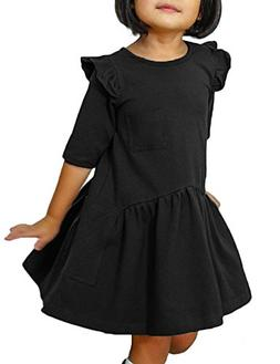 Luyeess Girl's Casual Ruffled Half Sleeves Pockets Loose T-S