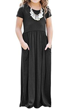 Maxi Dresses for Girls Summer Holiday Casual Loose Short Sle