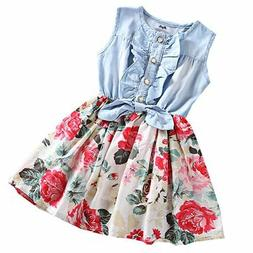 MingAo Little Girls Denim Floral Print Sleeveless Skirt Dres