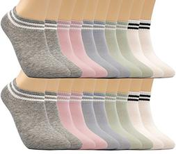 Motech 10 Pairs Colorful 80% Cotton No Show Low Cut Breathab