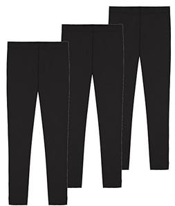 My Way Girls' Value Pack Solid Cotton Full Length Leggings -