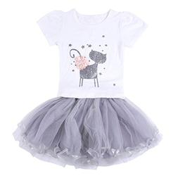 Neeseelily Baby Girls Clothes 2pc Cute T-Shirt+ Tulle Tutu S