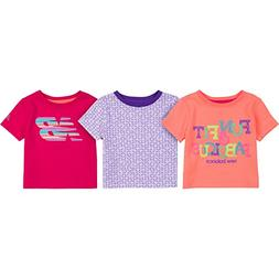 New Balance Baby Girls' 3 Pack Graphic Tees, Sunrise/Violet/