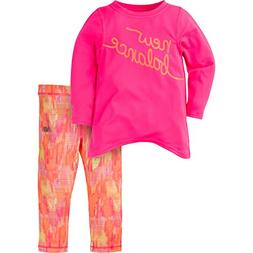 New Balance Baby Girls Long Sleeve Top and Print Tight Set,