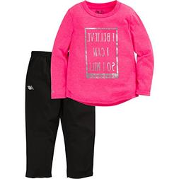 New Balance Baby Girls Long Sleeve Top and Tight Set, Pink H