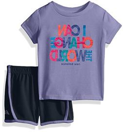 New Balance Kids Baby Girls Athletic Tee and Short Set, Ice