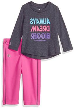 New Balance Kids Baby Girls Long Sleeve Top and Pant Set, Th