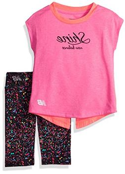 New Balance Kids Baby Girls Short Sleeve Top and Capri Set,